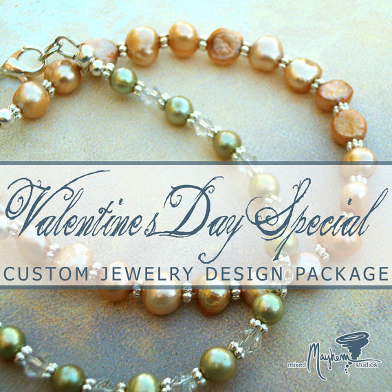 Custom Made to Order Natural Stone or Pearl Bracelet - Valentine's Day Gift Package